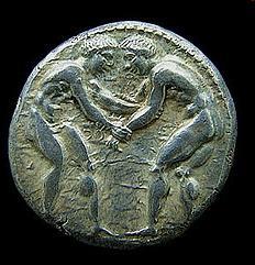 Slika 10. Starogrčki srebrni novčić s motivima hrvača (privatna kolekcija, 400 – 370 god.p.n.e)