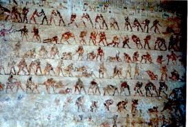 Slika 6. Freske iz grobnica u mjestu Benni Hassan na istočnoj obali Nila koje u 400 slika prikazuju tehniku hrvanja (2050 -1800. god. p.n.e.)